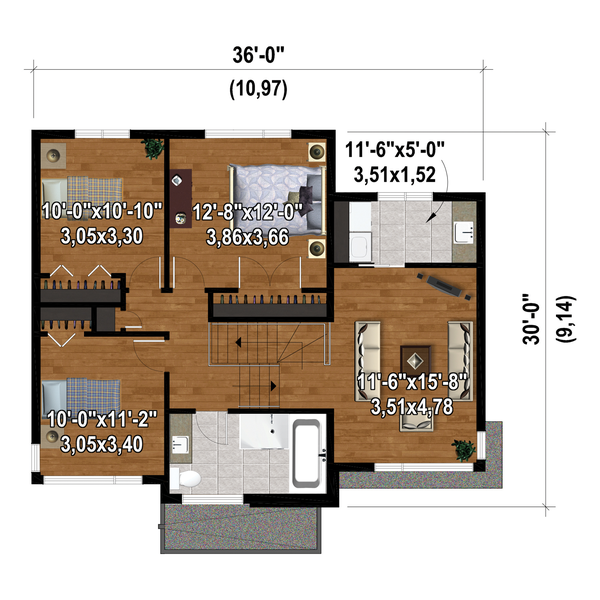 Contemporary Floor Plan - Upper Floor Plan #25-4876