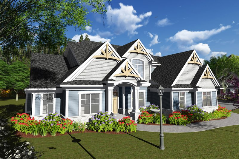 Dream House Plan - Craftsman Exterior - Front Elevation Plan #70-1252