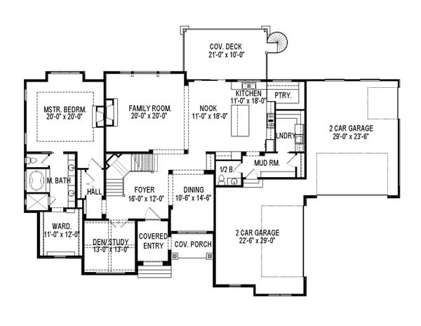 European Floor Plan - Main Floor Plan Plan #920-86