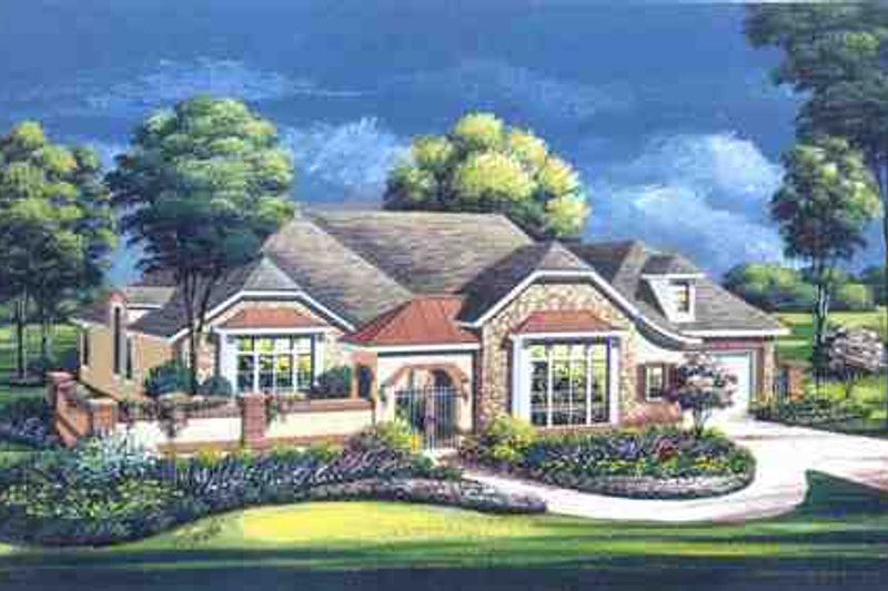 European Style House Plan - 3 Beds 3.5 Baths 3957 Sq/Ft Plan #411-833 Exterior - Front Elevation