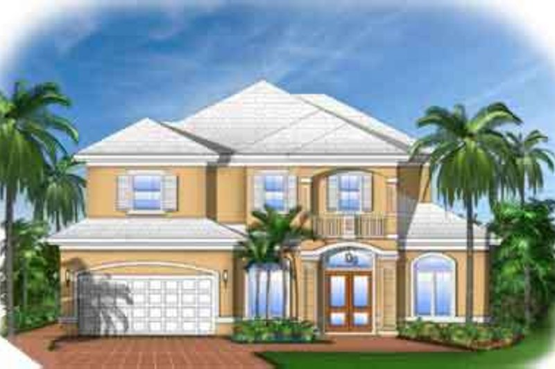 Mediterranean Style House Plan - 4 Beds 3.5 Baths 3516 Sq/Ft Plan #27-315 Exterior - Front Elevation