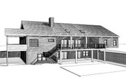 Country Style House Plan - 3 Beds 3 Baths 3121 Sq/Ft Plan #123-111 Exterior - Rear Elevation