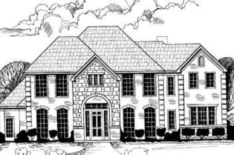 European Style House Plan - 5 Beds 4.5 Baths 3675 Sq/Ft Plan #317-125 Exterior - Front Elevation