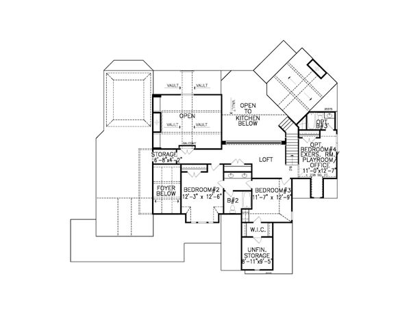 Traditional Floor Plan - Upper Floor Plan #54-406