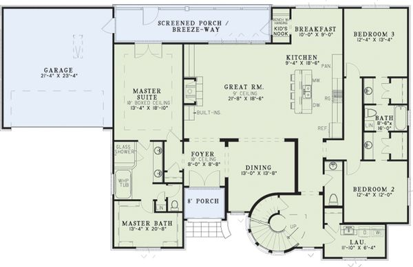 House Plan Design - European Floor Plan - Main Floor Plan #17-2573