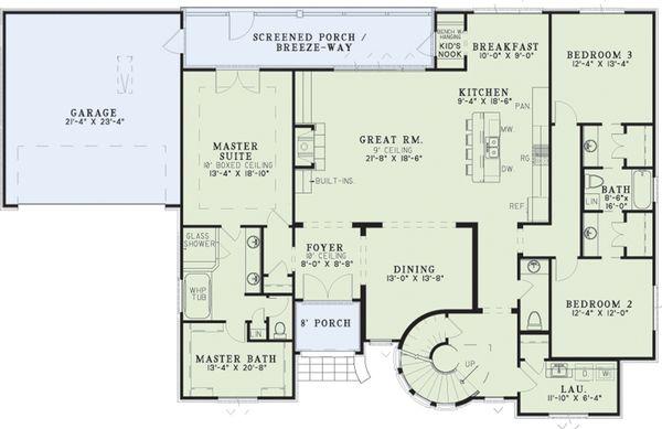 Home Plan - European Floor Plan - Main Floor Plan #17-2573