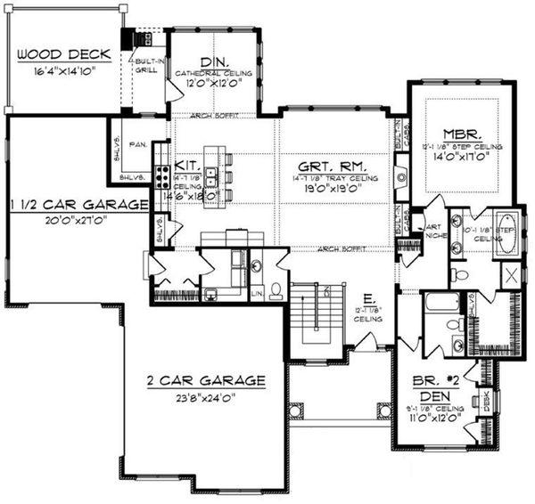 House Plan Design - Craftsman Floor Plan - Main Floor Plan #70-919