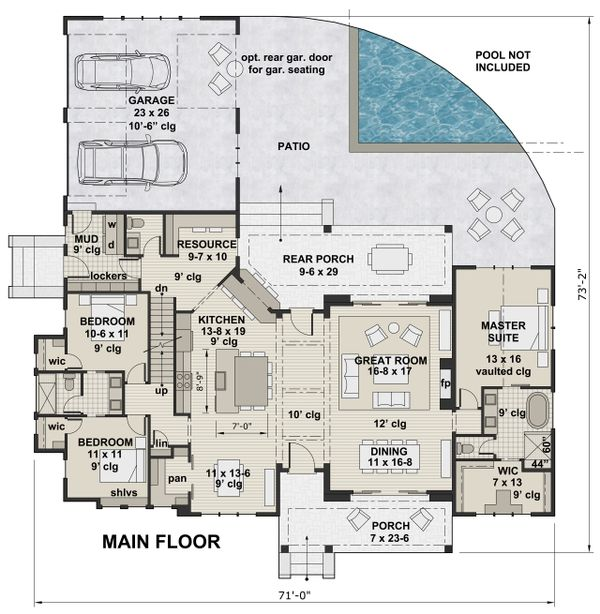 Farmhouse Floor Plan - Main Floor Plan Plan #51-1137