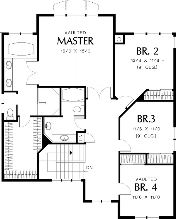 Upper level floor plan - 3250 square foot Craftsman home