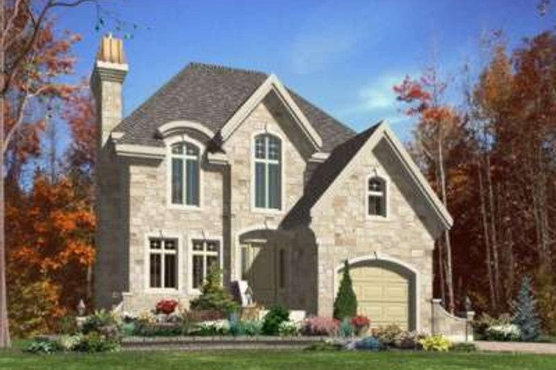 European Style House Plan - 3 Beds 1.5 Baths 1624 Sq/Ft Plan #138-107 Exterior - Front Elevation