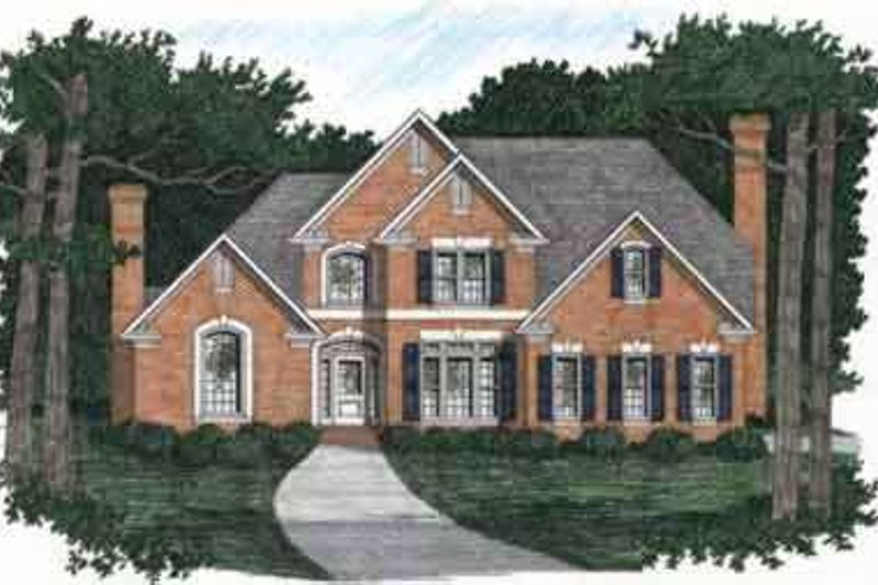Colonial Style House Plan - 4 Beds 3.5 Baths 2750 Sq/Ft Plan #129-123 Exterior - Front Elevation