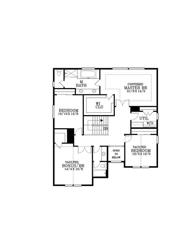 Craftsman Floor Plan - Upper Floor Plan Plan #53-583