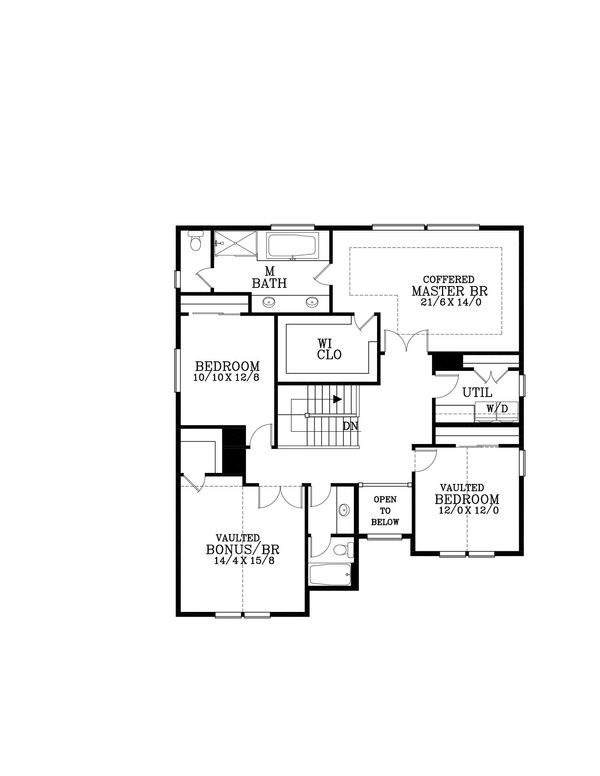 Craftsman Floor Plan - Upper Floor Plan Plan #53-583