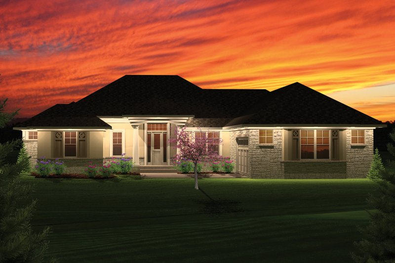 Ranch Exterior - Front Elevation Plan #70-1054