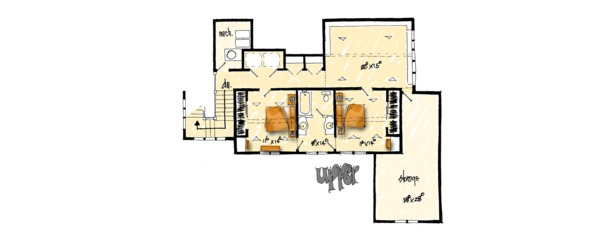 European Floor Plan - Upper Floor Plan Plan #942-38