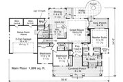 Craftsman Style House Plan - 3 Beds 2.5 Baths 1999 Sq/Ft Plan #51-550 Floor Plan - Main Floor Plan