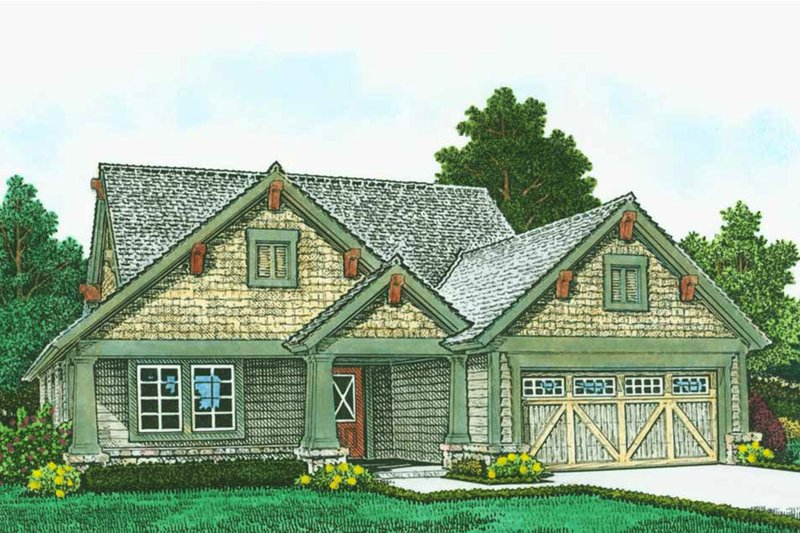 Craftsman Style House Plan - 3 Beds 2.5 Baths 2063 Sq/Ft Plan #310-1313 Exterior - Front Elevation