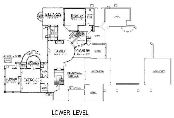 Mediterranean Floor Plan - Lower Floor Plan Plan #458-22