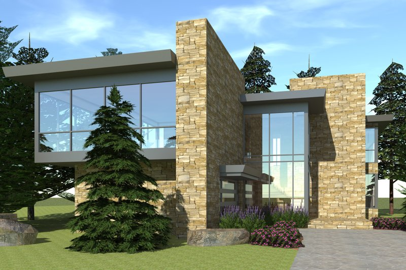 Modern Exterior - Front Elevation Plan #64-197 - Houseplans.com