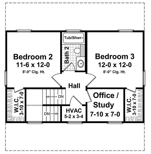 Traditional Floor Plan - Upper Floor Plan Plan #21-225