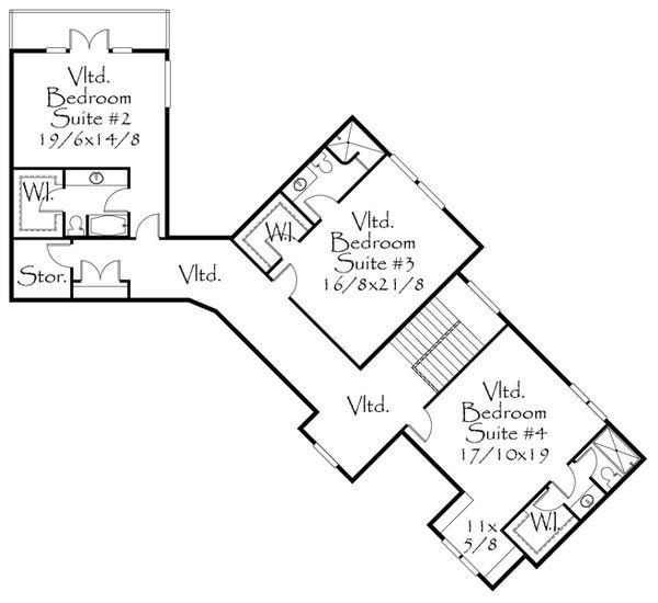 Craftsman Floor Plan - Upper Floor Plan Plan #509-28