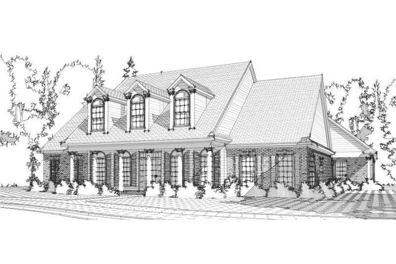 Colonial Style House Plan - 4 Beds 4.5 Baths 3614 Sq/Ft Plan #63-265 Exterior - Front Elevation