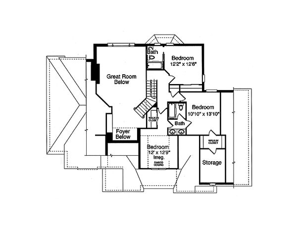 Traditional Floor Plan - Upper Floor Plan Plan #46-327