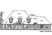 European Style House Plan - 4 Beds 3.5 Baths 3430 Sq/Ft Plan #310-332 Exterior - Rear Elevation