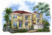 Mediterranean Style House Plan - 4 Beds 5.5 Baths 4745 Sq/Ft Plan #27-451 Exterior - Front Elevation