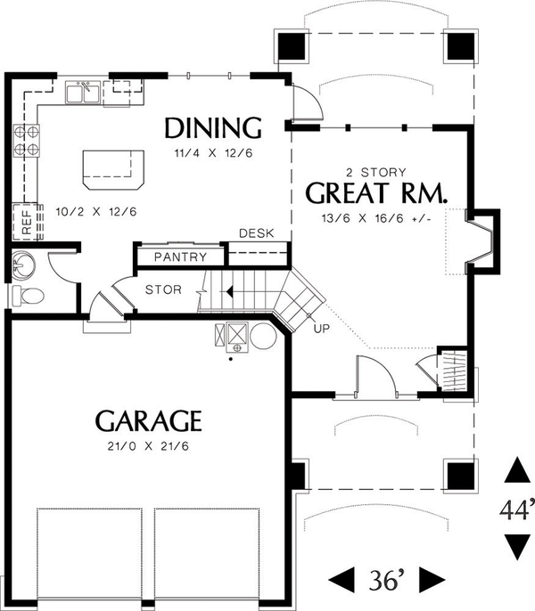 Traditional Floor Plan - Main Floor Plan Plan #48-113