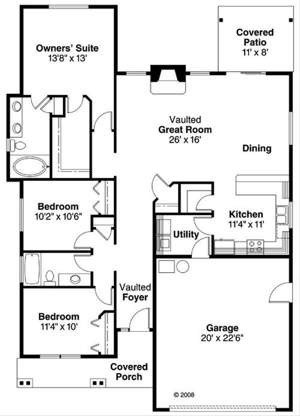 Craftsman Floor Plan - Main Floor Plan Plan #124-763