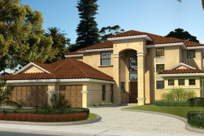 Mediterranean Style House Plan - 5 Beds 4 Baths 3497 Sq/Ft Plan #420-233 Exterior - Front Elevation