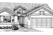 Mediterranean Style House Plan - 3 Beds 2 Baths 1501 Sq/Ft Plan #47-206 Exterior - Front Elevation