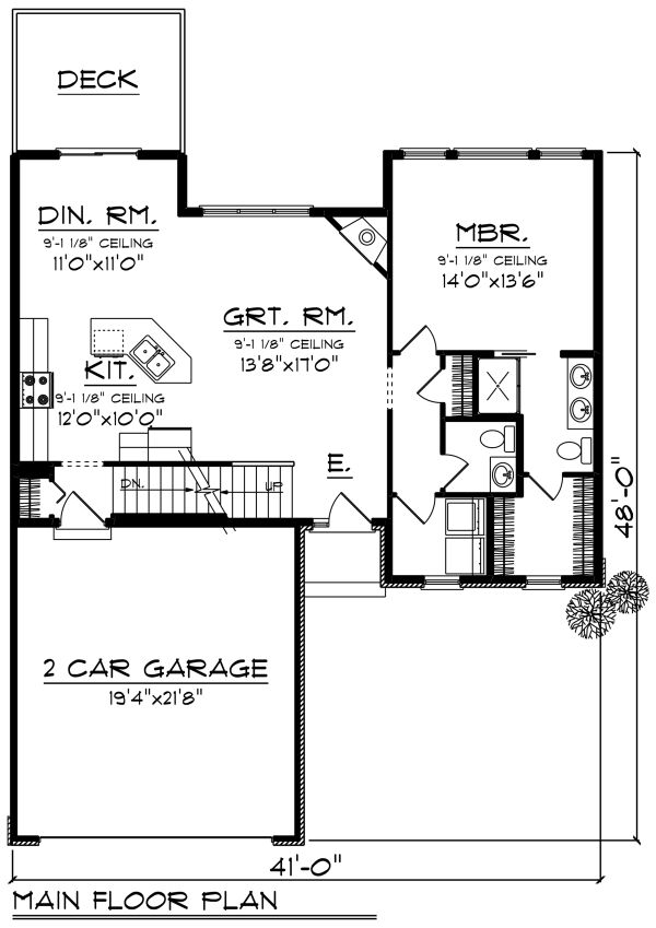 Craftsman Floor Plan - Main Floor Plan Plan #70-1265