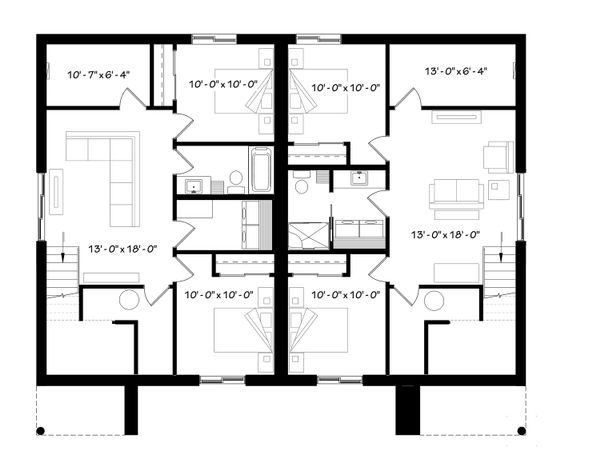 Modern Floor Plan - Lower Floor Plan Plan #23-2673