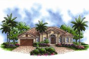 Mediterranean Style House Plan - 3 Beds 2.5 Baths 1786 Sq/Ft Plan #27-435 Exterior - Front Elevation