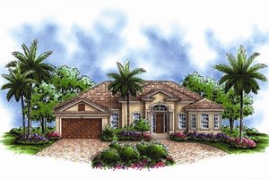 Mediterranean Exterior - Front Elevation Plan #27-435