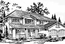 European Exterior - Front Elevation Plan #18-216