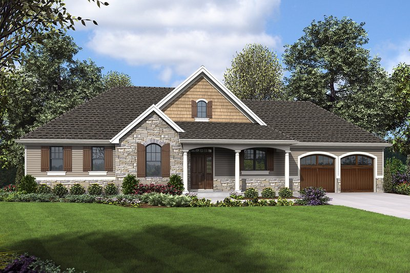 Craftsman Exterior - Front Elevation Plan #48-970