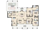 Southern Style House Plan - 4 Beds 2 Baths 1861 Sq/Ft Plan #36-163 Floor Plan - Main Floor Plan