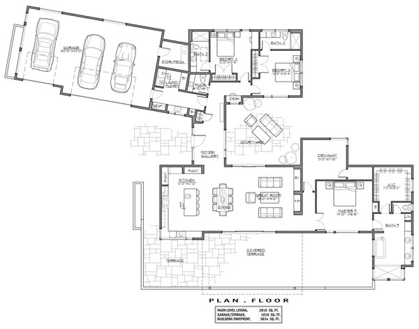 Contemporary Floor Plan - Main Floor Plan Plan #892-22