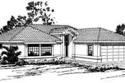 Mediterranean Style House Plan - 3 Beds 2 Baths 1636 Sq/Ft Plan #124-232 Exterior - Front Elevation