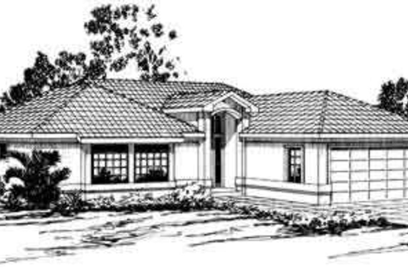 Mediterranean Style House Plan - 3 Beds 2 Baths 1636 Sq/Ft Plan #124-232