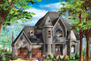 European Style House Plan - 3 Beds 1 Baths 2423 Sq/Ft Plan #25-4797 Exterior - Front Elevation