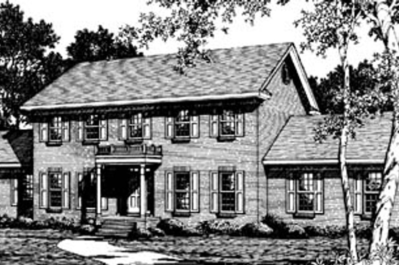 Colonial Style House Plan - 4 Beds 2.5 Baths 2932 Sq/Ft Plan #10-257 Exterior - Front Elevation