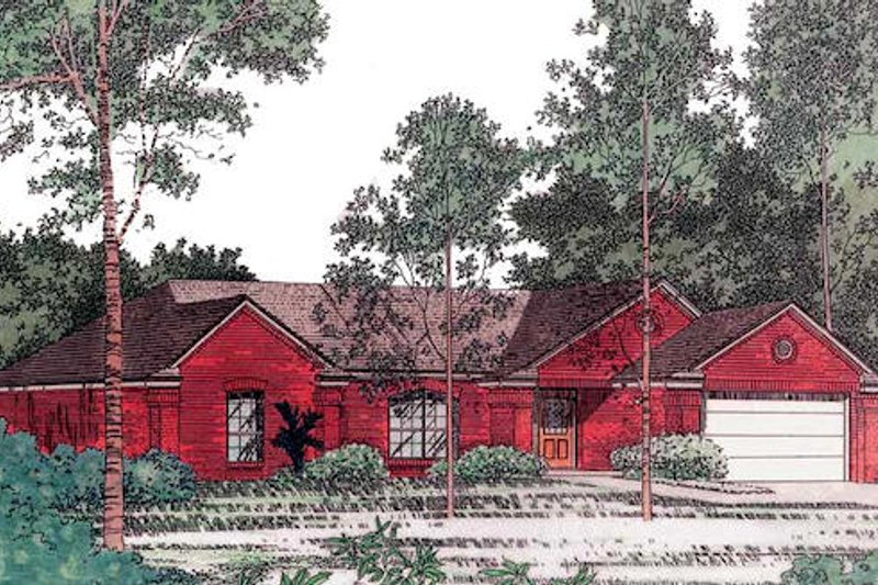 Traditional Style House Plan - 3 Beds 1.5 Baths 1135 Sq/Ft Plan #310-808 Exterior - Front Elevation