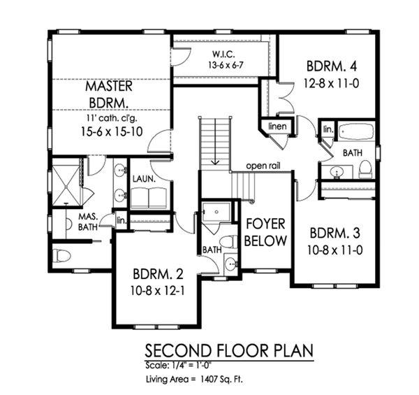 Traditional Floor Plan - Upper Floor Plan Plan #1010-232