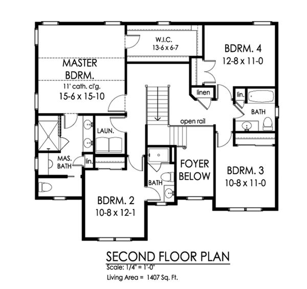 Traditional Floor Plan - Upper Floor Plan Plan #1010-232