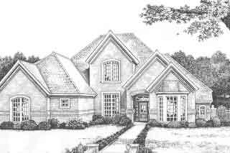 European Style House Plan - 4 Beds 3.5 Baths 3029 Sq/Ft Plan #310-496 Exterior - Front Elevation