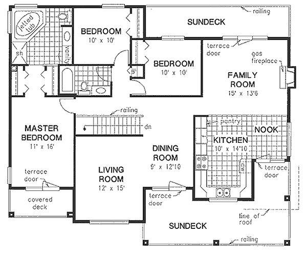 Mediterranean Floor Plan - Main Floor Plan Plan #18-253